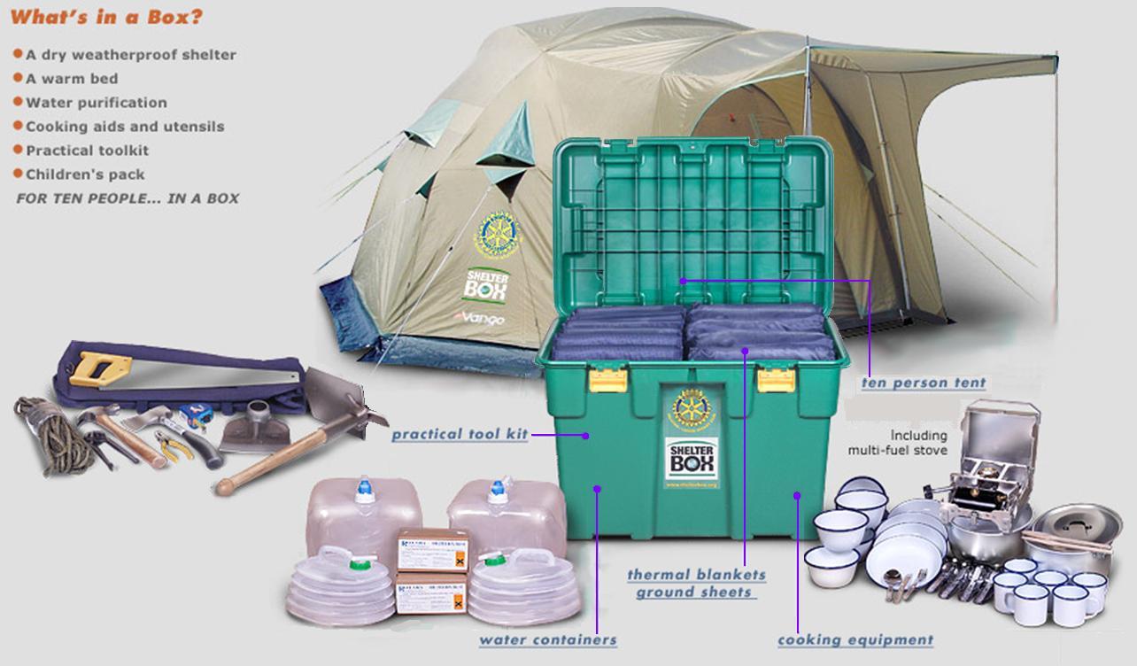 """Abri standardisé """"Shelter Box"""" Shelterbox-contents"""