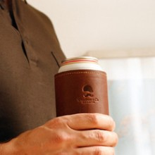 Koozie with beer Leather Neoprene